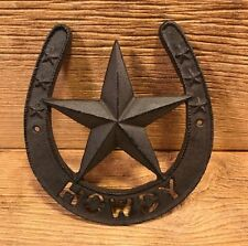 "Cast Iron Horseshoe Texas Star Howdy Door Plaque 8"" tall Home Decor 0184S-10801"