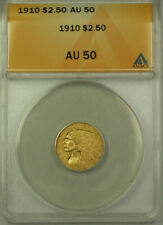 1910 Indian Head Quarter Eagle $2.50 Coin ANACS AU 50