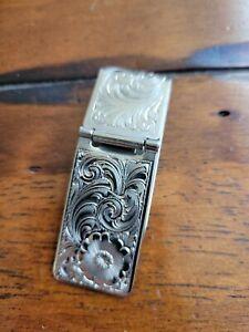 Vintage German Silver Western Tooled Money Clip