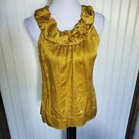 Bcbg maxazria Mustard Yellow Ruffle Silky satin Sleeveless tank top blouse S