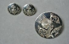 Hand Engraved Sterling Silver Pin & Earring Set Vintage Mexico Plata JHT & IGC