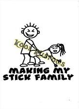 VINYL DECAL STICKER MAKING MY STICK FAMILY....FUNNY...CAR TRUCK WINDOW