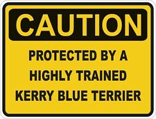 1x Caution Protected By Kerry Blue Terrier Warning Funny Sticker Dog Pet Decal