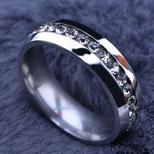 Top 10pcs Full Czech Rhinestones 316L Stainless Steel Rings Women Men's Wedding