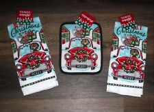 Kitchen Set CHRISTMAS Dog Cat Antique Car Truck 2 kitchen towels 1 potholder