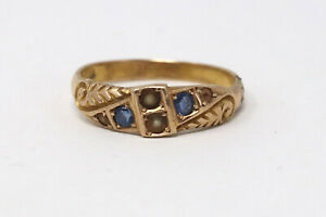 An Antique Victorian 15ct Yellow Gold C1898 Sapphire & Pearl Ring Not 9ct 18ct
