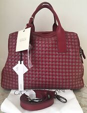 NWT Giorgia Milani Italian Italy wine red leather satchel bag purse weaved dome