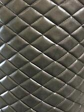"Gray 2 tone Vinyl Faux leather Quilted Upholstery fabric with 3/8"" Foam Backing"