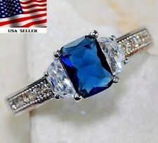 2CT Blue Sapphire & Topaz 925 Solid Sterling Silver Ring Jewelry Sz 7, M4