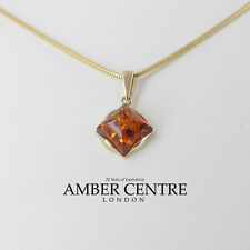 Italian Made Elegant Classic Amber Pendant in 9ct Gold GP0058 RRP£115!!!