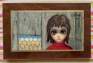 Vintage 60s Keane Plaque Wall Hanging Mid Century Modern Kitsch Sad Eye Girl