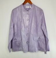 Chicos Lilac Linen Blend Banded Collar Jacket Size 3