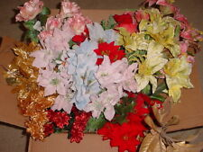 FLOWER BUSH LOT OF * 18 ASSORTED * POINSETTIA * ROSES * GREENS * NEW *