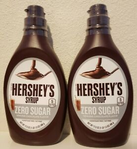 2 Hershey's Zero Sugar Genuine Chocolate Syrup 17.5 oz Bottles Fat Free