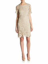 NWT ECI New York NUDE Bodycon DRESS Floral Lace Embroidered Sz 8 Short Sleeve