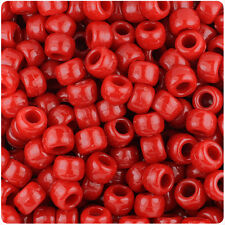 500 Red Opaque 9x6mm Barrel Pony Beads USA Made by The Beadery