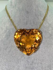 221.5ct Natural Madeira Citrine Brooch / Pendant in 18K Gold. Valued at $30,800.