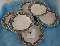 Set of 6 Soup Bowls Dynasty Fine China Black White Dinnerware
