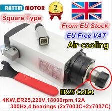 〖GB〗 4KW 220V ER25 Square Spindle Motor w/ Spanner Air Cooled CNC Milling Router