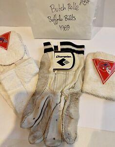 (LOT) 1989 BUFFALO BILLS BUTCH ROLLE #87 PLAYER WORN FOOTBALL GLOVES TOWEL BAND