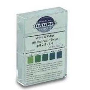 Wine / Cider pH Acid Indicator Strips - 50 - Harris