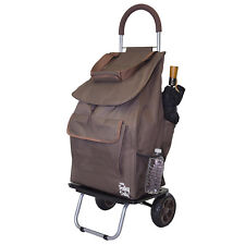 Brown Fabric Folding Shopping Cart Removable Grocery Bag Market Trolley Dolly