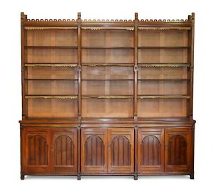 HUGE ORIGINAL HOLLAND & SON'S GOTHIC REVIVAL ANTIQUE VICTORIAN LIBRARY BOOKCASE