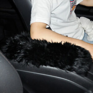 Black Car Sheepskin Center Console Armrest Box Cover Mat Pad Wool Cushion se