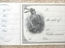 Antique Early 1900s Bank Check - With Native American / Indian Warrior - Unused