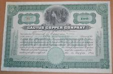 Cactus Copper Company 1910 antique stock certificate
