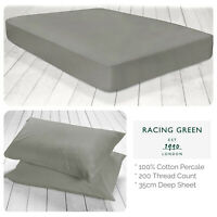 Racing Green Deep Fitted Bed Sheets & Pillowcases Single Double King Slate Grey