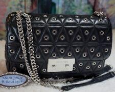 MICHAEL KORS SLOAN GROMMETED QUILTED Large Chain Shoulder Bag BLACK Leather $358