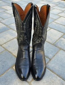 Lucchese 2000 Men's Size 11 D Black Leather Cowboy Western Boots T3010R4