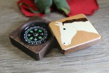 Compass Box Pocket Military Camping Army Hiking camping Horse Handmade
