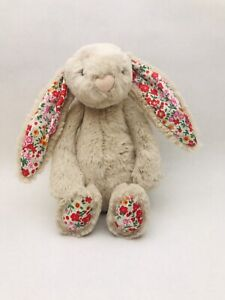 "RARE Jellycat Blossom Posy Bunny Rabbit Plush Floral Ears 8"" Small Grey Bashful"