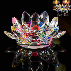 7 Colors Crystal Glass Lotus Flower Candle Tea Light Holder Candlestick Decor