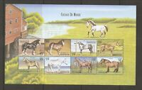 Central African Republic Sc # 1286 Horses Of The world. Miniature Sheet .MNH