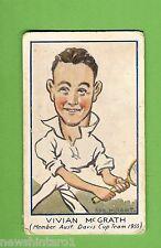 #D232. 1933-34 Turf Carerras Cigarette Card - #89 Vivian McGrath, Tennis