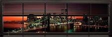 Poster New York Brooklyn Bridge durchs Fenster bei Nacht 91,5 x 30,5 cm