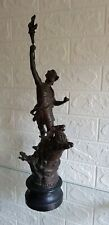 VINTAGE FRENCH BRONZED SPELTER FIGURE OF MAN AND STAG, C.1930