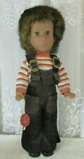 "Vtg 70s West Germany Engel Knoch Puppe Boy Doll 16"" Fur Hair Blue Eye Corduroy"
