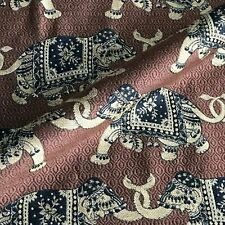 Elephant Burgundy Embroidered Upholstery Fabric