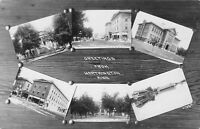 Worthington Minnesota~Multi Mini View~Tenth Street~School~Boat House~c1912 RPPC