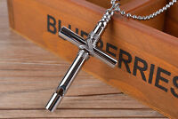 Men Unisex's Necklace Silver/Black Stainless Steel Cross Whistle Pendant Chain