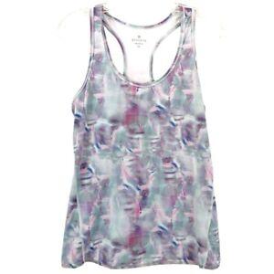 Athleta Watercolor Blue Pink White Workout Tank  Split Open Back Top Size XS