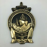 USS Proteus AS-19 Submarine USN Navy Heavy Brass Emblem Wall Plaque RARE  H5