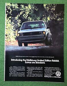 1980s magazine Ad car auto automobile VOLKSWAGON Rabbit Wolfsburg mancave garage