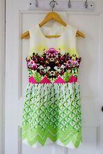 Mini Vestido Blanco Estampado Floral Verde, falda para mujer sin mangas de retazos, m s 8 10