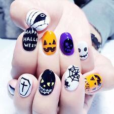 NEW 24pcs Halloween Skull Pumpkin Short False Fake Nails Art Tip Stickers N3073