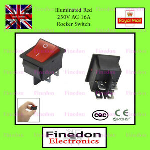 Rocker Switch 16A 240V, 20A 125V RED ON-OFF Double Pole 4 Pin ILLUMINATED